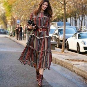 Zara Pom Pom Striped Festival Maxi Dress NWT